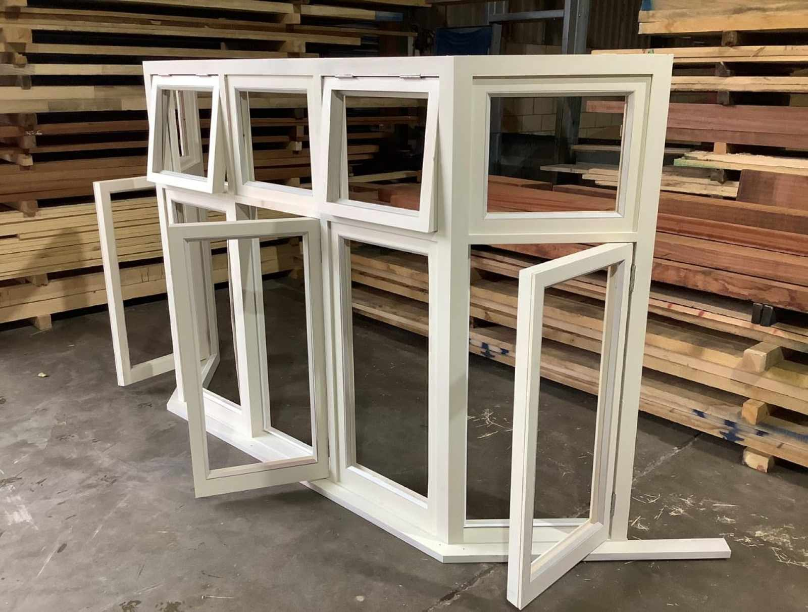 Casement bay window in our fully working joinery shop